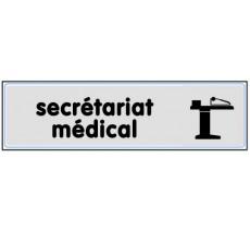 Plaque de porte plexi argent secrétariat médical