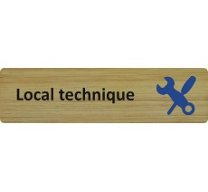"Plaque de porte standard en bois "" Local technique """