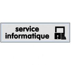 Plaque de porte plexi argent service informatique