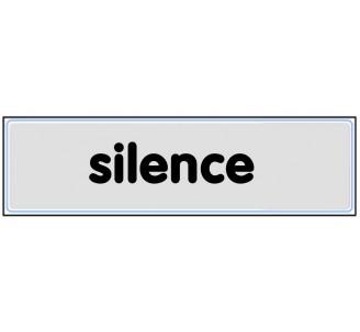 Plaque de porte plexi argent silence
