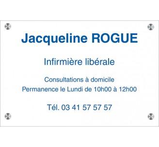 Plaque professionnelle en plexi incolore, texte bleu
