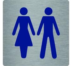 """Pictogramme économique en alu """" Toilettes mixte """""""
