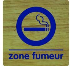 """Pictogramme économique en bois """" Zone fumeur """""""