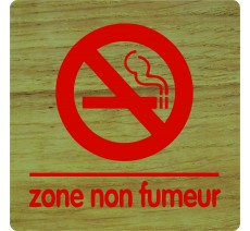 """Pictogramme économique en bois """" Zone non fumeur"""""""