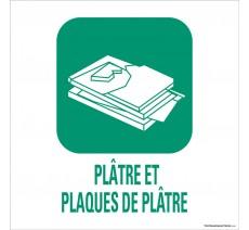"""Panneau de déchetterie conforme aux normes """"Plâtre-Plaques de plâtre"""""""