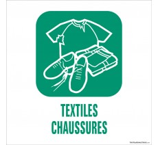 """Panneau de déchetterie conforme aux normes """"Textiles-Chaussures"""""""