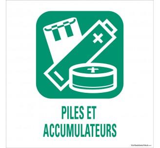 """Panneau de déchetterie conforme aux normes """"Piles et accumulateurs"""""""