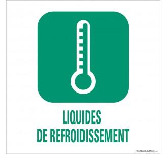 """Panneau de déchetterie conforme aux normes """"Liquides de refroidissement"""""""