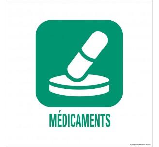"""Panneau de déchetterie conforme aux normes """"Médicaments"""""""