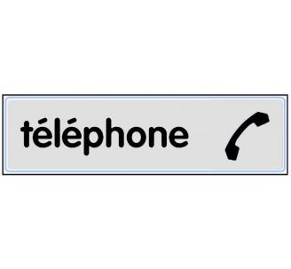 Plaque de porte plexi classique argent téléphone