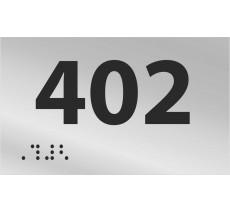 Numéro de chambre en relief / braille PVC ou alu argent