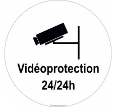 """Panneau PVC rigide """"Videoprotection 24h/24h"""""""