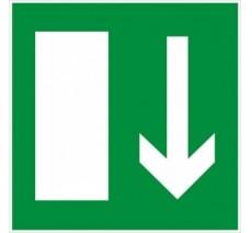 Adhésif ou panneau PVC rigide dim: H 200x L 200 mm   Sortie de secours en bas