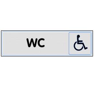 Plaque de porte plexi classique argent wc handicapé
