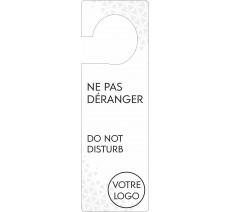 Pancarte accroche-porte avec logo personnalisé, blanc