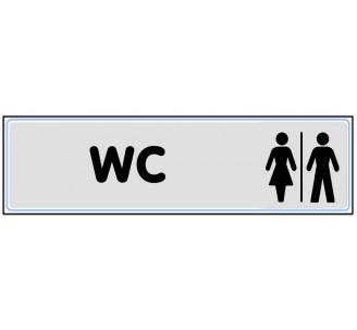 Plaque de porte plexi classique argent wc mixte