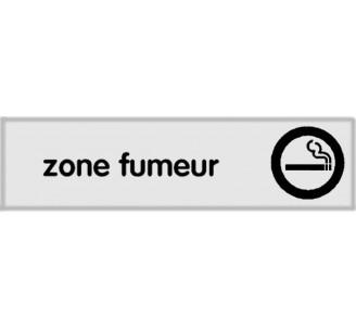 Plaque de porte plexi classique argent zone fumeur