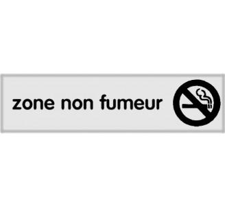 Plaque de porte plexi classique argent zone non fumeur