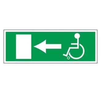 Adhésif ou panneau PVC rigide dim: H 120 x L 330 mm Sortie de secours pour handicapés vers la gauche