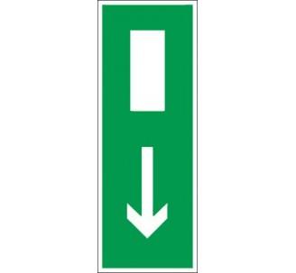 Panneau PVC rigide dim: H 120 x L 330 mm Sortie de secours vers le bas