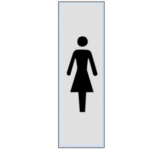 Plaque de porte plexi classique argent toilettes femme vertical