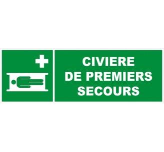 Panneau PVC rigide dim: H 150 x L 450 mm Civière de premiers secours