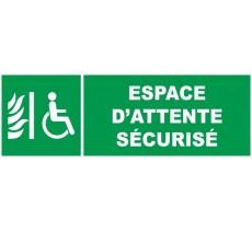 Adhésif ou panneau PVC rigide dim: H 150 x L 450 mm Espace d'attente sécurisé