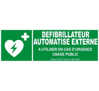 Panneau PVC rigide dim: H 150 x L 450 mm Défibrillateur automatisé externe