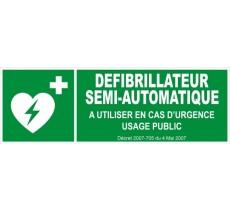Panneau PVC rigide dim: H 150 x L 450 mm Défibrillateur semi-automatique
