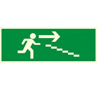 Panneau PVC photoluminescent rigide Escalier de secours descente à droite