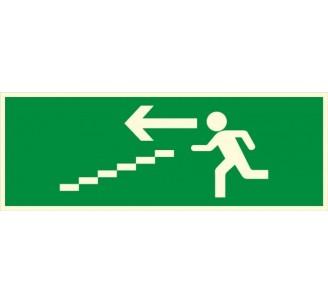 Panneau PVC photoluminescent rigide Escalier de secours descente à gauche