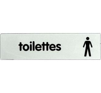 Plaque de porte plexi classique argent toilettes homme