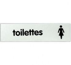 Plaque de porte plexi classique argent toilettes femme
