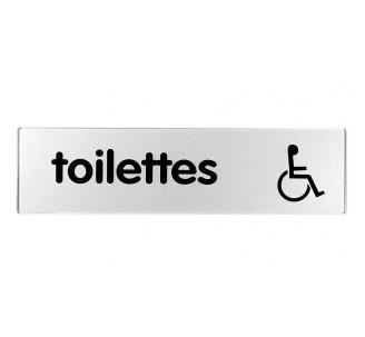 Plaque de porte plexi classique argent toilettes handicapé