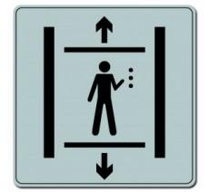 Pictogramme plexi classique argent  ascenseur