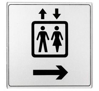 Pictogramme plexi classique argent ascenseur flèche droite