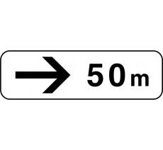 """Panneau type routier """"50m à droite"""" ref:M3b"""