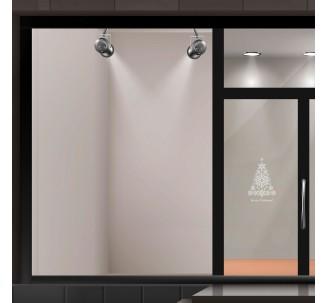 """Autocollant pour vitrine """"Merry Christmas"""" + sapin de noël"""