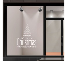 "Autocollant pour vitrine ""Merry Christmas and happy new year"" + sapin de noël"