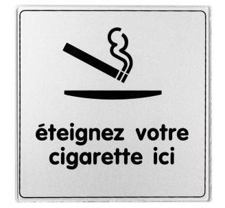 Pictogramme plexi classique argent éteignez votre cigarette ici