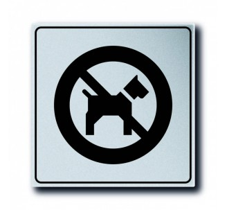 Pictogramme plexi classique argent chiens interdits