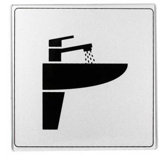 Pictogramme plexi classique argent lavabo