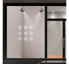 Kit de stickers pour vitrine de 9 flocons