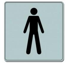 Pictogramme plexi classique argent toilettes homme