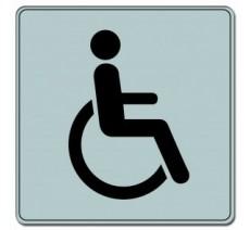 Pictogramme plexi classique argent toilettes handicapé