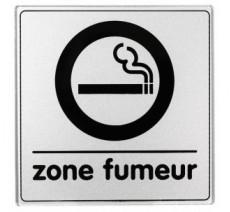 Pictogramme plexi classique argent zone fumeur