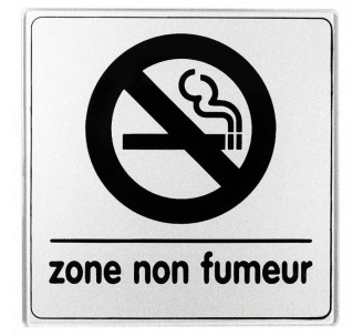 Pictogramme plexi classique argent zone non fumeur