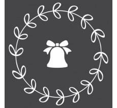 Sticker pour vitrine en couronne de noël avec cloche