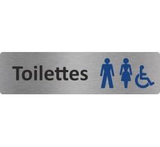 """Plaque de porte standard en plexi """"Toilettes mixtes handicapés"""""""