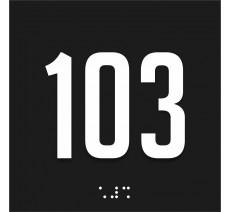 Numéro de chambre en plexi avec relief et braille, coloris au choix